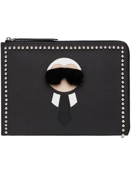 Fendi - Karlito coin purse - women - Calf Leather/Mink Fur/Acrylonitrile Butadiene Styrene (ABS) - One Size, Black, Calf Leather/Mink Fur/Acrylonitrile Butadiene Styrene (ABS)