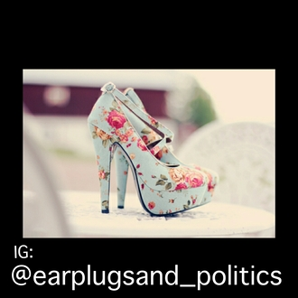 shoes multicolor heels high heels duck egg blue light blue girly floral ankle boots