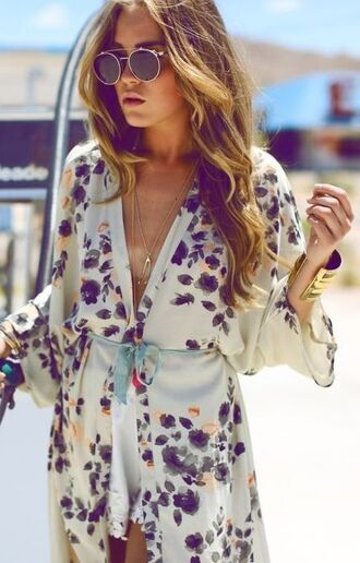 blouse kimono boho chic floral silky spring break