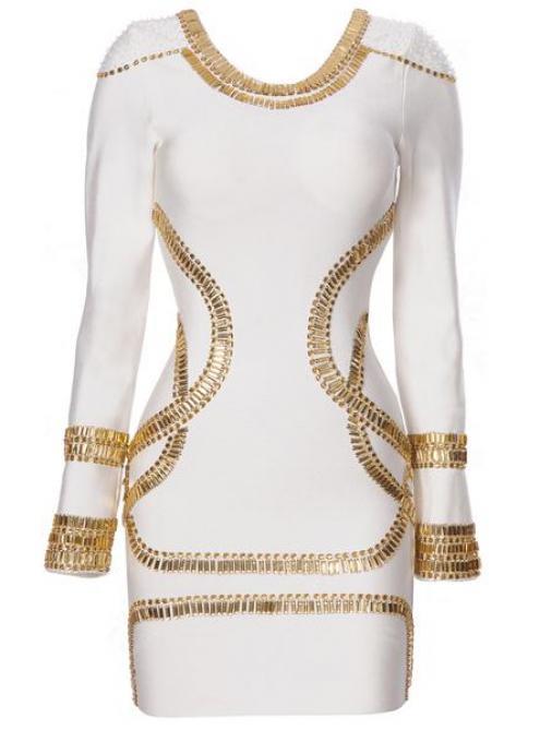 Embellished Jersey White Dress H313B$159