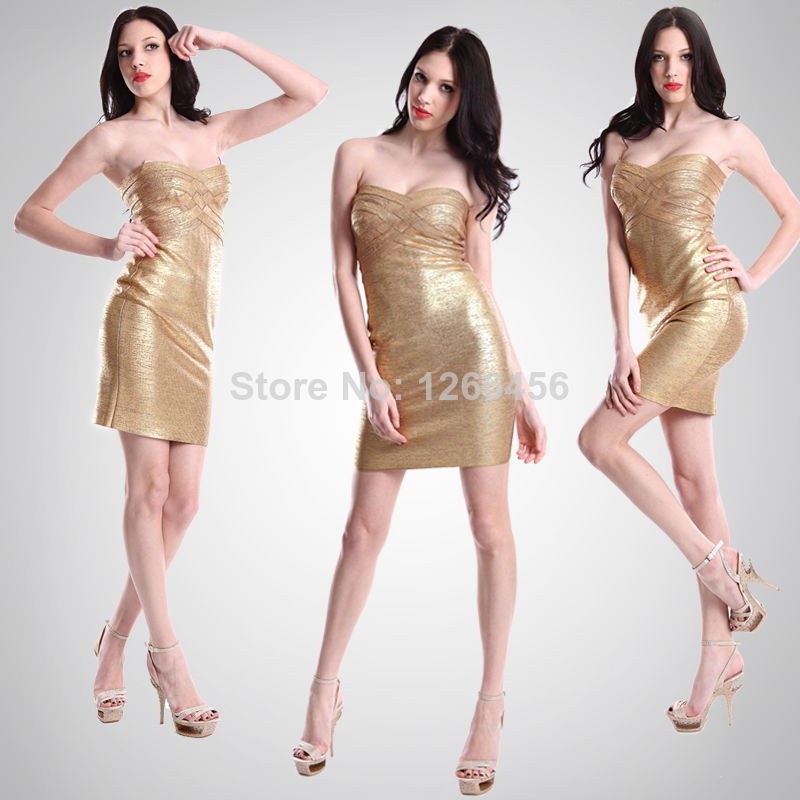 Aliexpress.com : Buy Fashion 2014 Top Quality Jess Gold Metallic Evening Dress Strapless Formal Celebrity Print Bandage Dress Vestidos H109 from Reliable dresses design suppliers on Lady Go Fashion Shop
