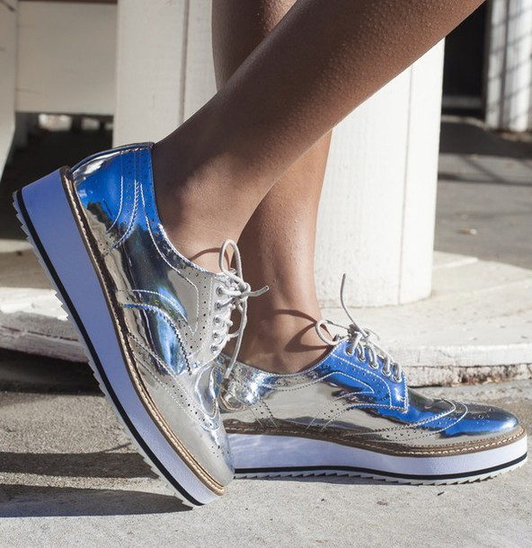 9bb5bb23225 shoes brogue shoes silver oxfords silver stella mccartney shellys london  oxfords metallic shoes