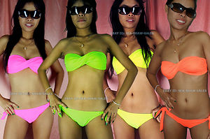 Bandeau bikini neon fluorescent green pink orange strapless twisted tube padded
