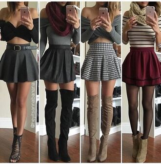skirt burgundy cute outfit where can i get this outfit skater skirt crop tops outfit idea summer outfits cute outfits spring outfits date outfit party outfits fashion stylish style clothes clubwear shoes sexy shoes cute shoes party shoes summer shoes heels high heels cute high heels over the knee boots boots black heels black boots black shoes black high heels booties stockings mini skirt high waisted skirt waist belt cute skirt grey skirt plaid skirt off the shoulder black crop top black top long sleeve crop top long sleeves scarf knitted scarf summer top top cute top stripes