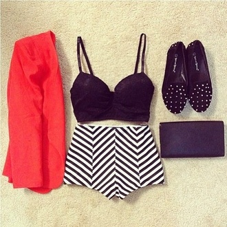 shorts blazer stripes studded shoes purse clutch black white red underwear shirt bandeau black bandeau bandeau top jacket coral jacket outfit red blazer
