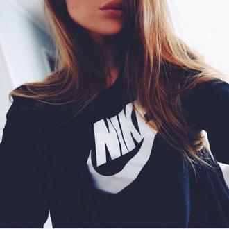 sweater black nike sweatshirt top white