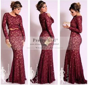 Aliexpress.com : Buy 2015 Elegant Burgundy Full Long Sleeve Lace ...