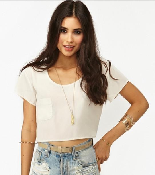 t-shirt crop tops white