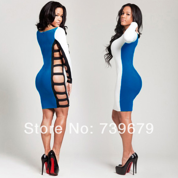New Fashion 2013 Autumn Bandage Dress Casual White And Blue Bodycon Dress Evening Club Dress Free Shipping-in Dresses from Apparel & Accessories on Aliexpress.com