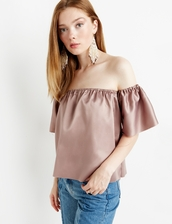 top,off the shoulder,shiny,blush pink