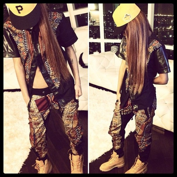 shirt custom wheat timberlands fitted hat teyana taylor pants shoes hat
