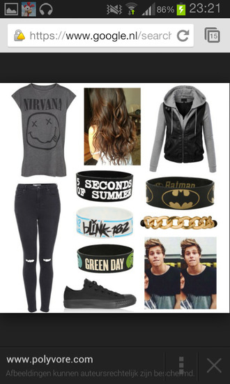jacket t-shirt nirvana 5 seconds of summer luke hemmings ripped jeans jeans