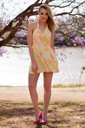 dress,neon,yellow,orange,bow,skater dress,halter dress