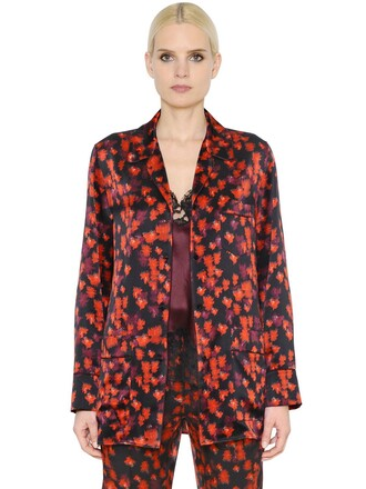 shirt style floral silk satin black red top