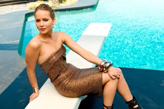 bustier dress jennifer lawrence gold gold dress jewels