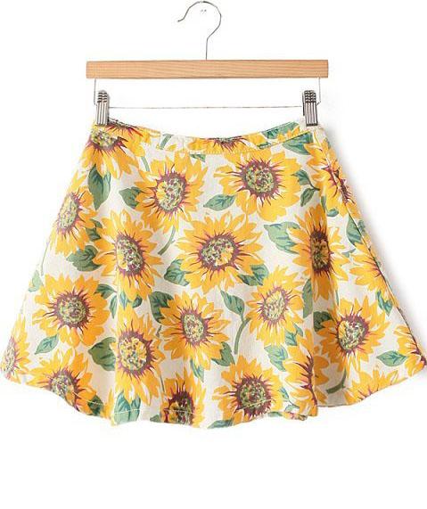 Yellow High Waist Sunflower Print Flare Skirt - Sheinside.com