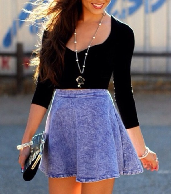 dress skirt black shirt necklace jewelry shirt jewels summer blue jean skirt black crop top short skirt denim high waisted skirt top scoop neck purple