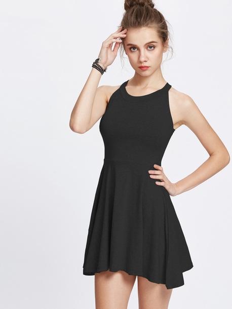 dress black dress simple dress halter neck