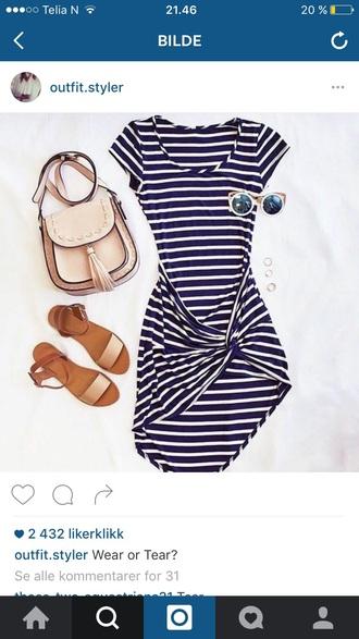top stripes striped dress sunglasses mirrored sunglasses round sunglasses navy navy dress navy stripes blue dress casual casual dress bag flats sandals flat sandals beige flat sandals summer outfits fringed bag