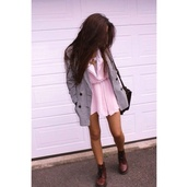 coat,houndstooth,black and white,black and white coat,black buttons,pink dress,dress,shoes