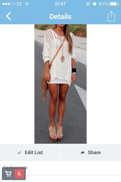 white dress see through knitted cover up