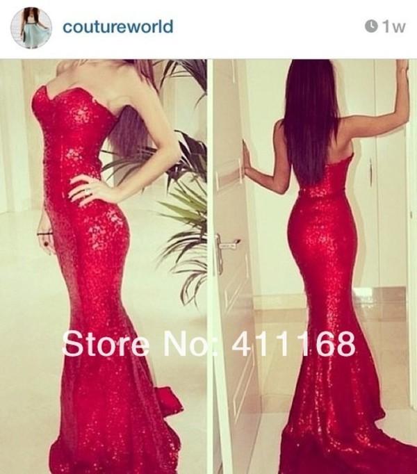 dress red dress sequins dress