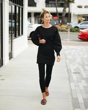 pants,leggings,black leggings,black blouse,slide shoes,clutch