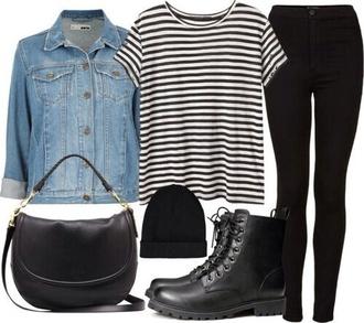 jacket black jeans blouse boots t-shirt stripped shirt jean jackets grunge jean jacket jewels jeans shoes