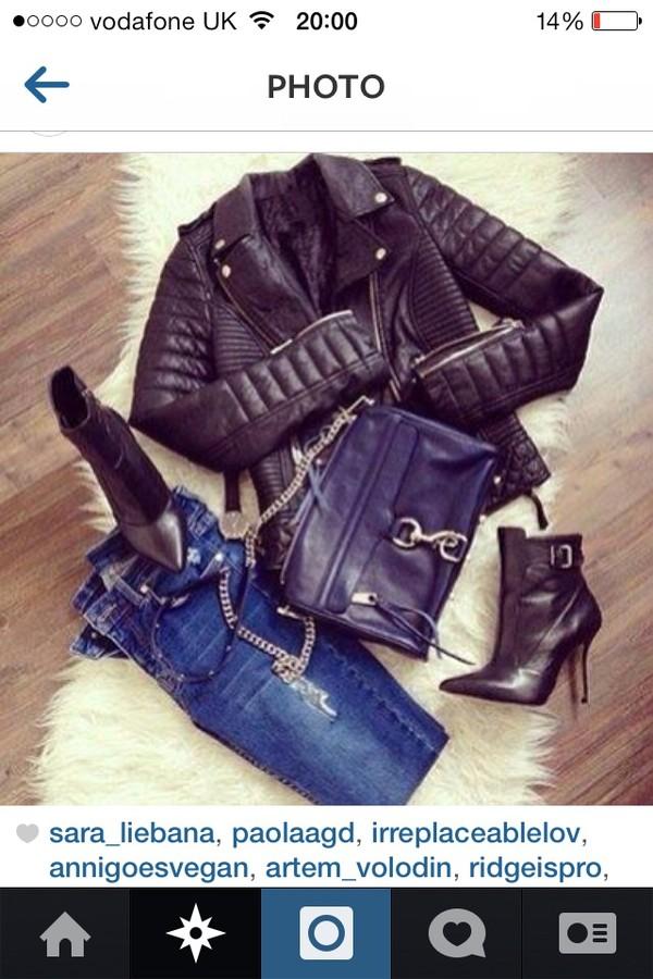 jacket black leather biker jacket