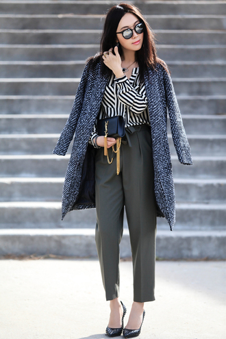 fit fab fun mom blogger striped shirt cropped pants office outfits elegant grey pants ysl bag