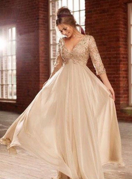 dress gold dress prom dress bridesmaid v neck long dress long sleeves long sleeve dress long dress long prom dress 2014 prom dress v neck dress deep v 3/4 sleeve dress 3/4 sleeves beeded beige dress beaded a line prom gowns a line dress a line prom gown evening dress evening dress dress prom v neck dress