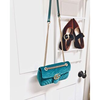 bag tumblr teal gucci gucci bag velvet velvet shoes mid heel pumps brown shoes chain bag quilted bag pointed toe