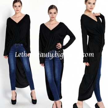 Long wrapped draped top