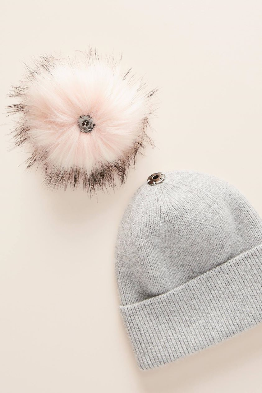 Pick-A-Pom Ribbed Beanie Base by Anthropologie in Grey