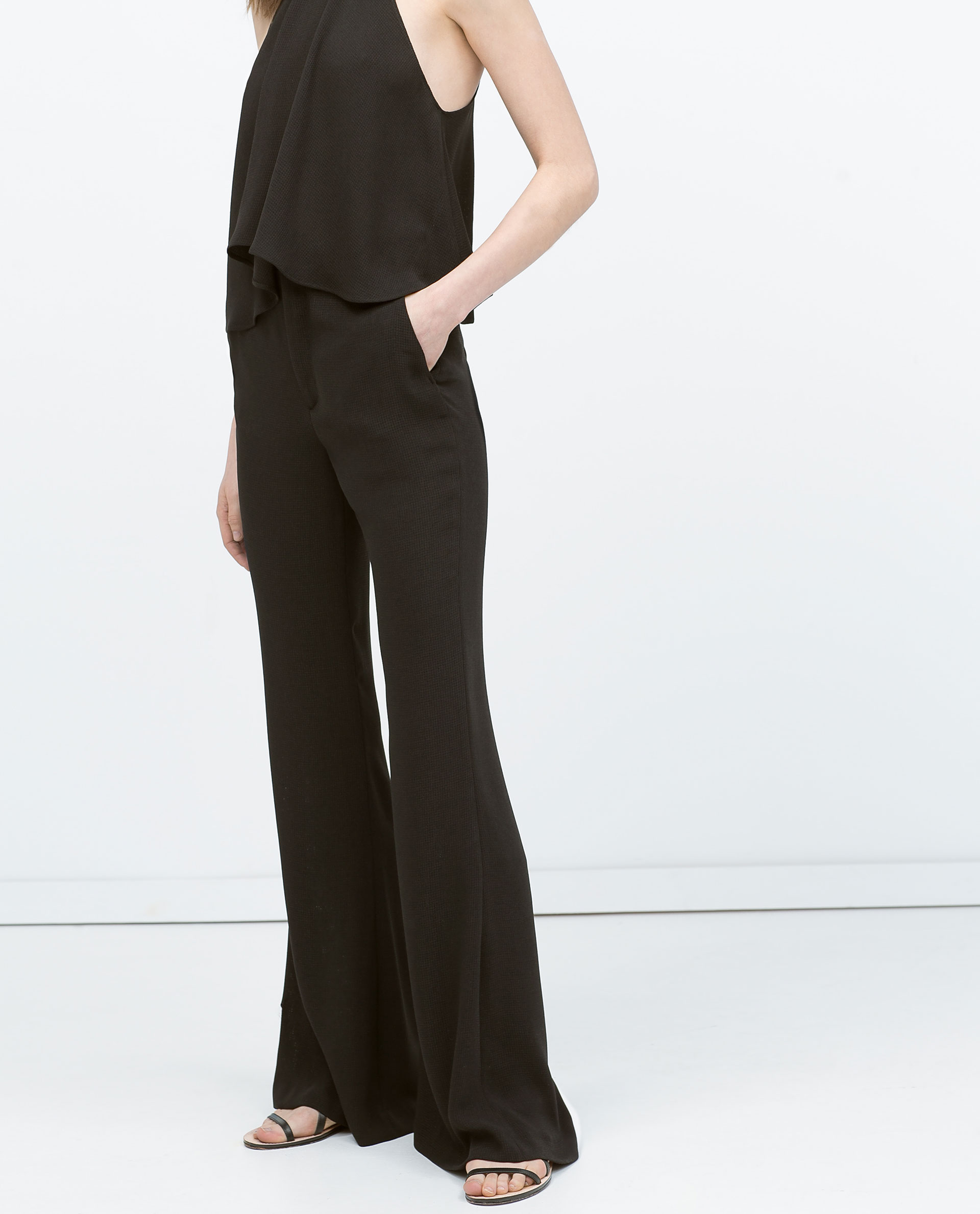 LOOSE FLARED TROUSERS - Flowing - Trousers - WOMAN - SALE ... 8c727794f6a3