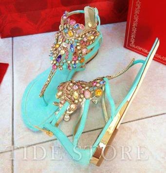 Amazing  flat heels thong sandals with colorful crystal: tidestore.com