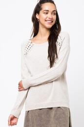 sweater,oatmeal,cream,lace up,grommets,knit