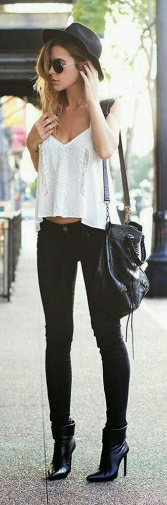 tank top boho chic shirt boho bohemian pretty white lace chilled jeans city city chick pants