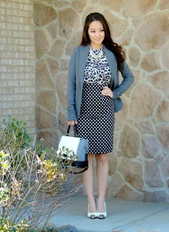 sensible stylista blogger bag office outfits leopard print polka dots pencil skirt