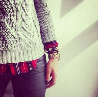 knitwear knitted sweater plaid flannel shirt