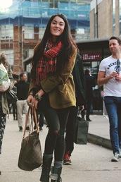 alessandra kamaile,blogger,jacket,scarf,bag,jewels