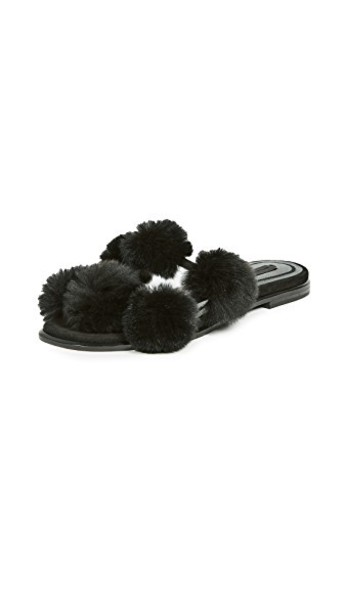 Alexander Wang fur mules black shoes