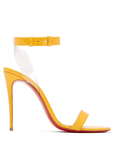 CHRISTIAN LOUBOUTIN Jonatina patent leather sandals in yellow