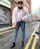 jacket,tumblr,fur jacket,faux fur jacket,white jacket,bag,pink bag,denim,jeans,blue jeans,skinny jeans,boots,black boots,ankle boots,hat,fisherman cap