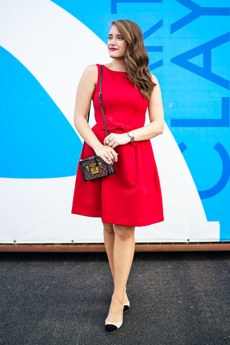 covering bases curvy blogger shoes make-up jewels red dress mini dress shoulder bag louis vuitton flats midi dress bow dress louis vuitton bag mini bag pumps cap toe date outfit party outfits party dress date dress red mini dress