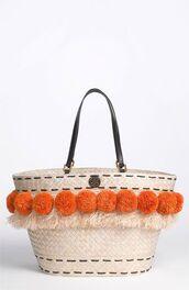 bag,pompom basket bag,basket bag,pompom bag,orange pompom,beige basket bag,tory burch,beach bag
