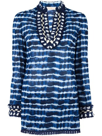 top tunic women cotton blue