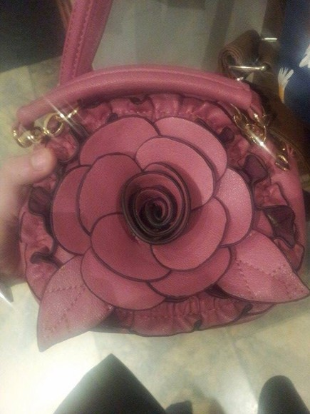 elastic bag pink bag flower bag petals ruffled need it please help find want want want flowers