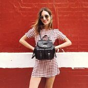 dress,gala gonzalez,reformation,reformation dress,mini dress,short dress,checkered dress,checkered,red dress,short sleeve dress,summer dress,backpack,black backpack,back to school,sunglasses,blogger