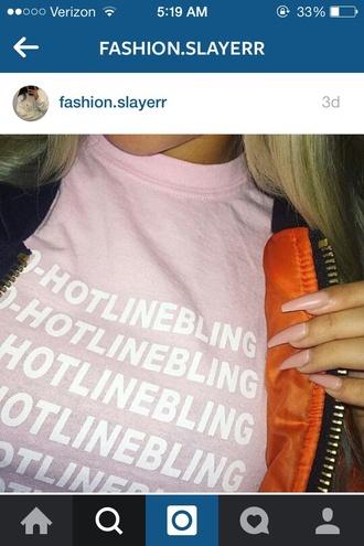shirt 1800hotlinebling drake dresstodepress pink drake ovo hotline bling ovo drake t-shirt baby pink light pink sad boys 2001